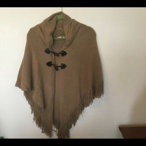 Cape Poncho With Toggle Closure Buttons Tan